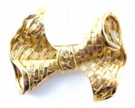 Vintage Large Woven Style Bow Brooch By Sphinx.